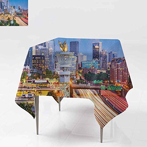 AndyTours Square Table Cloth,United States,Atlanta Georgia Urban Busy Town with Skyscrapers City Landscape,Party Decorations Table Cover Cloth,54x54 Inch Pale Blue Yellow Coral -