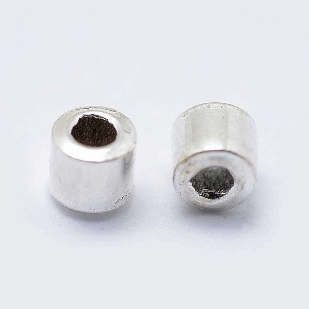 DanLingJewelry 50 cuentas de plata de ley 925 engarzadas para hacer joyas de 2 mm