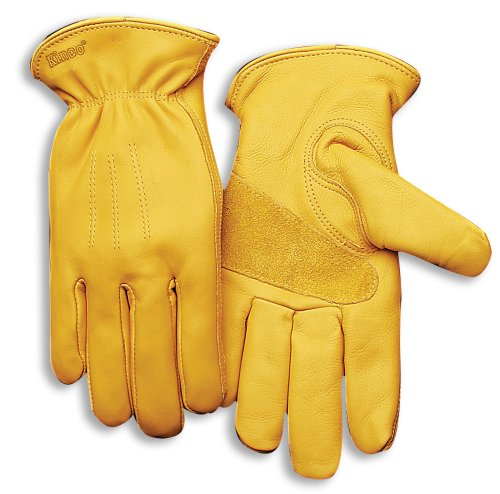 Grain Lined Cowhide Glove - KINCO 198HK-L Men's Lined Premium Grade Grain Cowhide Leather Gloves, Heat Keep Thermal Lining, Large, Golden
