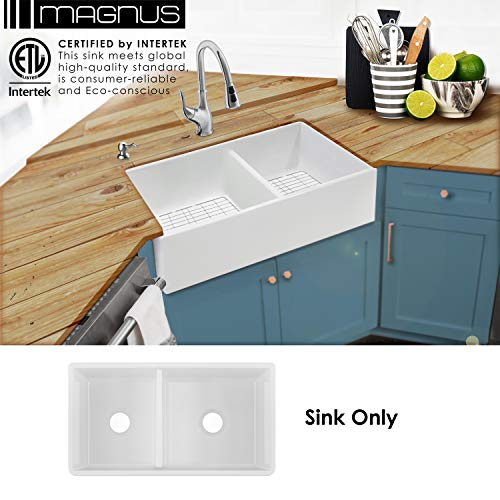 - MSFC6040PLN 33-in 60/40 Double Bowl Fireclay Apron Front Farmhouse Kitchen Sink ...