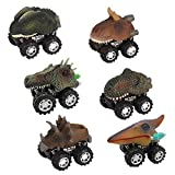 Pull Pack Go Dinosaur Cars,KOBWA Vehicle Toys Play Set with Big Tire Wheel, Mini Metal Dinosaur Truck Toddlers Chlidren Creative Gifts 3-12 Year Older Boys Girls,6-Pack Educational Kids Christmas Toy