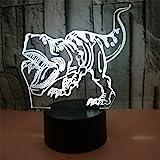 RUIYI 3D Optical Illusion Night Lamp Tyrannosaurus Visual Lmaps,Dinosaur 7 Color Change Lamp Base Birthday Gift Child Kid Home Decoration