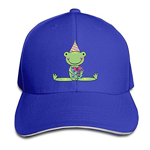 (Visor Frog Birthday Cartoon Trucker Tats RoyalBlue Sandwich Peaked Cap)