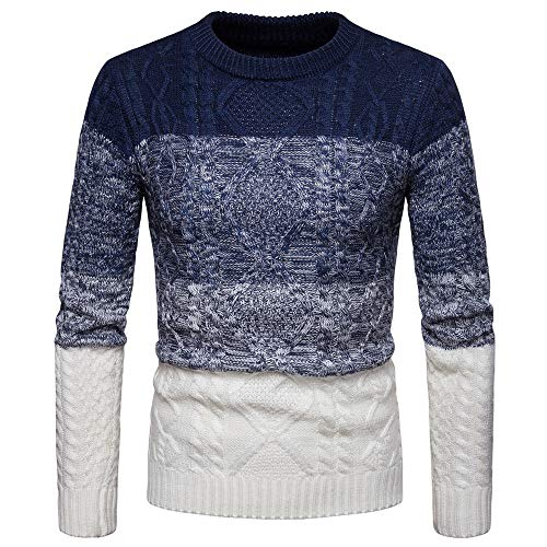WOCACHI Final Clear Out Mens Knitted Sweater Patchwork