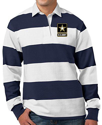 Mens US ARMY LOGO Long Sleeve Rugby Polo Shirt (Pocket Print) , Large True ()