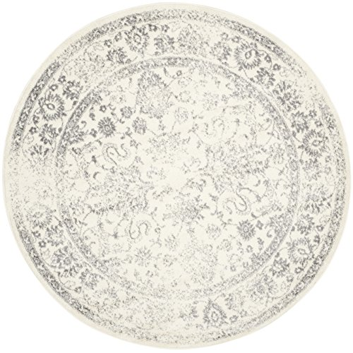 Safavieh Adirondack Collection ADR109C Ivory and Silver Oriental Vintage Distressed Round Area Rug (3' Diameter) (Ft Rug Round 3)