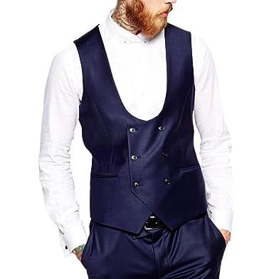 Laisla fashion Chaleco De Los Hombres Elegante De Doble ...