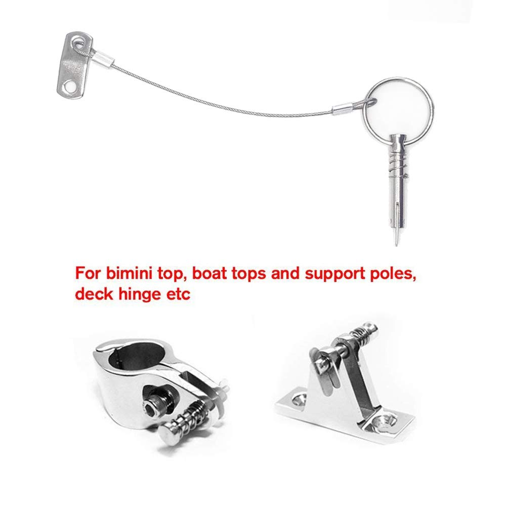 Amadget 4 PCS Bimini Top 1//4 Diameter Quick Release Pin w//Drop Cam /& Spring 316 Stainless Steel Removable Hinge Pins Marine Hardware Lanyard Prevents Loss with Free Installation Screws