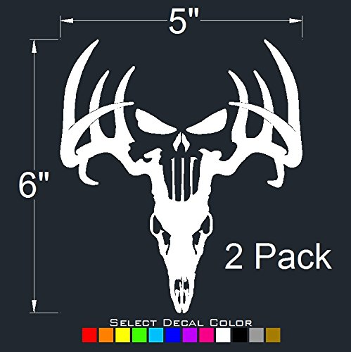 Deer Punisher Skull Decals (2 Pack) Hunting Sticker 6