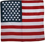 Classic Red White Blue US Flag Biker Cotton Bandana (22'' x 22'')