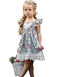 BANGELY Kids Girls Floral Print Dress Lace Ruffle Backless Princess Party Dresses