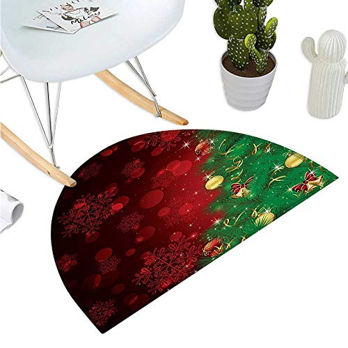 Christmas Half Round Door mats Trippy Xmas Tree Backdrop Traditional Rituals Themed Jingle Artisan Design Bathroom Mat H 19.7