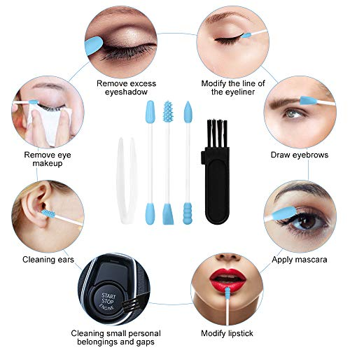 TACTEI Compact Travel Mirror, Handheld Mini Cosmetic Mirror with Reusable Silicone Cotton Swabs, Small Folding Hand Mirror for Makeup, Handbag, Pocket, Purse, Portable