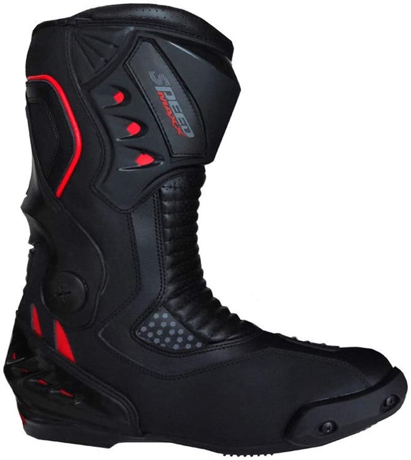 UK 9 - EU 43 CE Approved Black Speed MAX Mens Motorbike Motorcycle Racing Leather Shoes Boots
