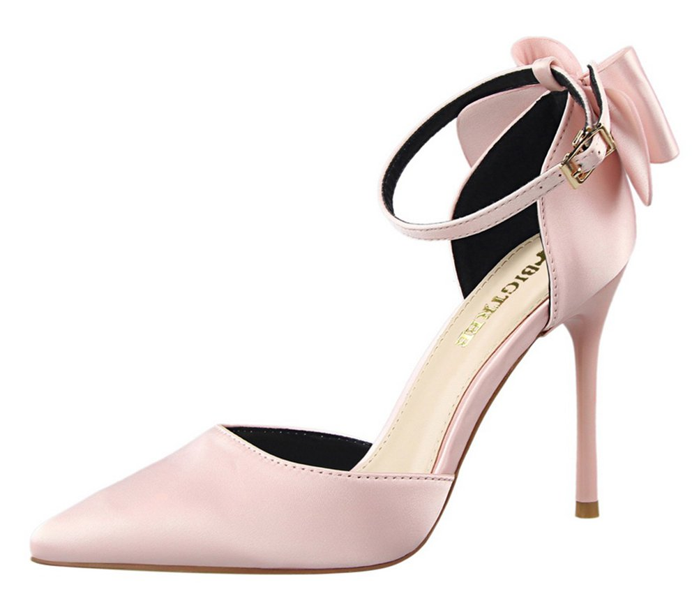 T&Mates Womens Fashion Elegant Satin Bowtie Ankle Strap Buckle Pointy Toe D'Orsay Sandals Pumps (5.5 B(M) US,Pink)