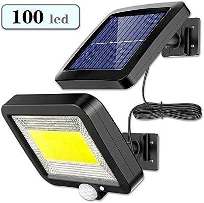 Luz Solar Exterior con Sensor de Movimiento, EJNOY 100 LED Focos Solares Exterior 120 ° súper brillantes, IP65 Impermeable, 3 modos con cable de 16.5 pies, Luces Solares Led Exterior Jardin Blancas: Amazon.es: Iluminación