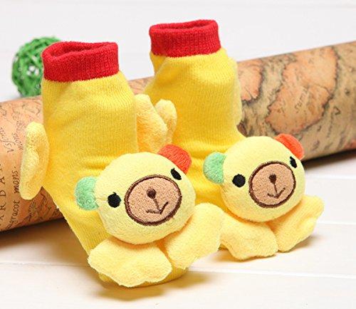Happy Cherry - 3 Paires Chaussettes Bébé Enfants Filles Garçons - Chaussons Avec 3D Animal Mignon - Couleur Aléatoire - Idéal pour 6-12 mois