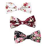 Mantieqingway Men's Cotton Bowties Printed Floral Neck Bow Tie (Style-3)