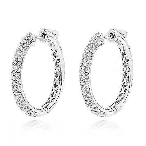Luxurman Ladies 14K Natural 1.75 Ctw Diamond Hoop Earrings (White Gold)