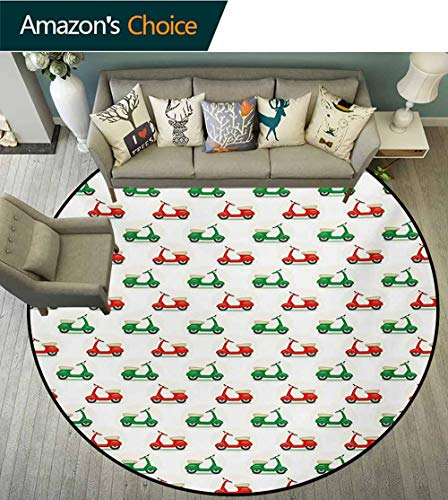 - RUGSMAT Motorcycle Super Soft Circle Rugs for Girls,Vintage Scooters with Step-Through Frame On Display Lively Colors Spotlight Circular Area Rugs for Kids Bedroom,Round-55 Inch Emerald Scarlet