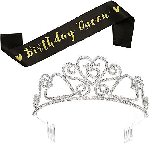 SWEETV Rhinestone Birthday Tiara and Black Glitter Birthday