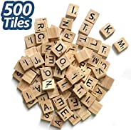 500 Pcs Wood Scrabble Tiles Scrabble Letters 5 Complete Sets of Wood Tiles - Perfect for Crafts, Letter Tiles, Spelling by C