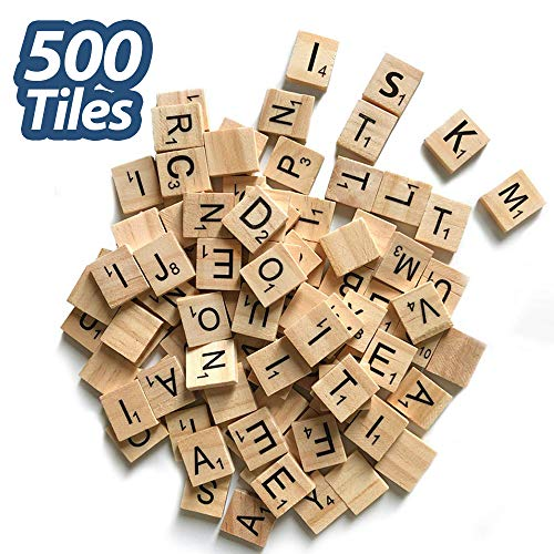 500 Pcs Wood Scrabble Tiles Scrabble Letters 5 Complete Sets of Wood Tiles - Perfect for Crafts, Letter Tiles, Spelling by Clever Delights (Scrabble Letters For Crafts)