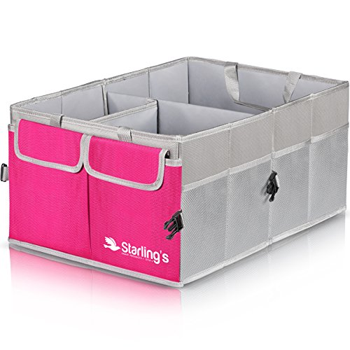 Car Trunk Organizer By Starling's-Pink: Super Strong, Foldable Storage Box For Auto, Truck, SUV - Nonslip/Waterproof 3 layers Bottom W/Design Box