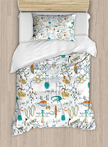 Ambesonne Doodle Duvet Cover Set Twin Size Science Lab Objects Education Themed Drawing Scientific Formulas Biology Chemistry, Decorative 2 Piece Bedding Set 1 Pillow Sham, Multicolor