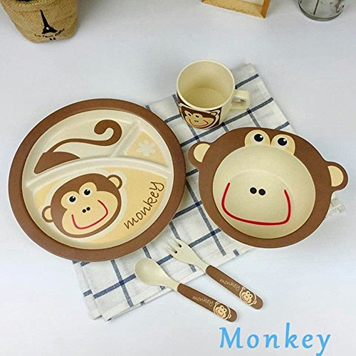 100% bamboo fiber tableware set lovely animal dinnerware set for baby plate bow cup forks spoon