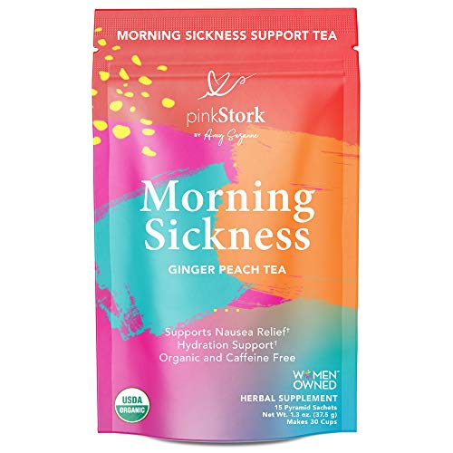 Pink Stork Morning Sickness Relief Tea: Ginger-Peach + USDA Organic + Relieves Nausea + Supports Digestion & Hydration, Women-Owned, 30 Cups