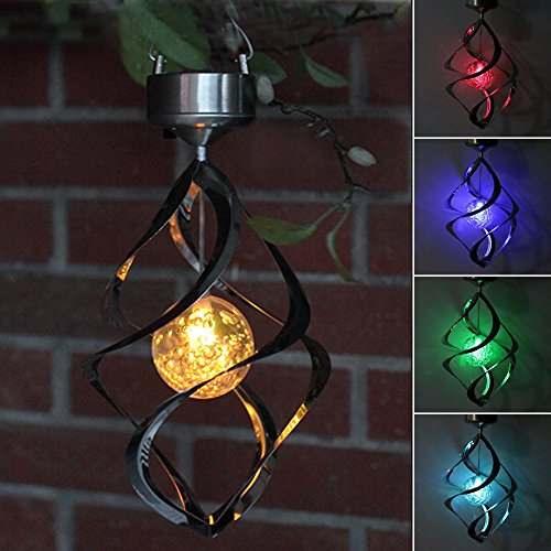 Outdoor Decor (AGPtEK® Solar Power light Wind Spinner LED Light Outdoor Garden Courtyard Hanging Lamp Lawn)