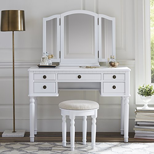 Fineboard Dressing Set with Stool Beauty Station Makeup Table Three Mirror Vanity Set, 5 Organization Drawers, White (Station Makeup Bedroom)