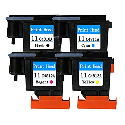 YATUNINK 4 Pack(1BK+1M+1C+1Y) 11 Printer Head Replacement For HP 11 Printhead Work With HP Designjet 510 1067 mm Printer (CH337A) (CJ997A) Designjet 510 610 mm Printer (CH336A) - Designjet 510 Printer