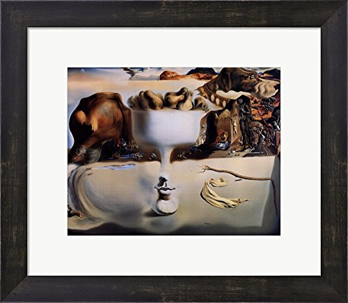 Apparition of Face and Fruit Dish on a Beach, c.1938 by Salvador Dali Framed Art Print Wall Picture, Espresso Brown Frame, 16 x 14 inches