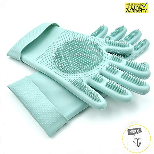 Updated 2019 Version Magic Silicone Scrubbing Gloves Dishwashing Scrubber, Scrub Cleaning Gloves for Washing Kitchen, Dish, Bathroom, Car and Pet Grooming, Including a Free Small Hooks, (Blue)