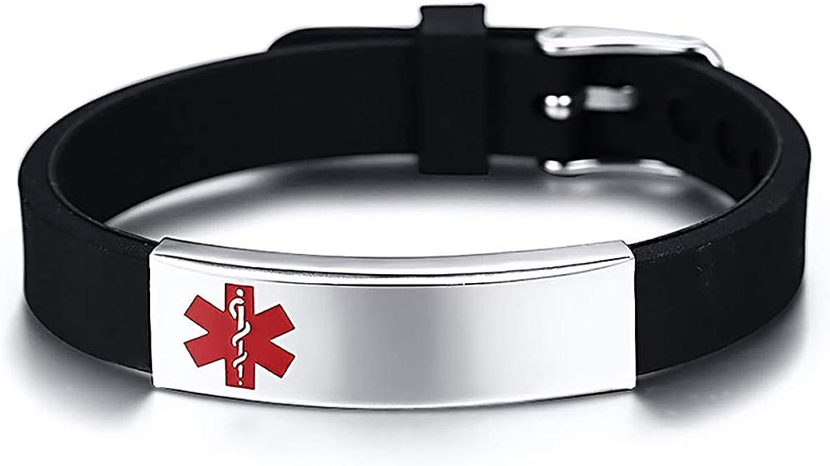 HooAMI Bracelet Medical ID Homme Femme Gravure Personnalis/é Type De Maladie Bracelet Survie durgence R/églable pour Patients Personnes Ag/ées