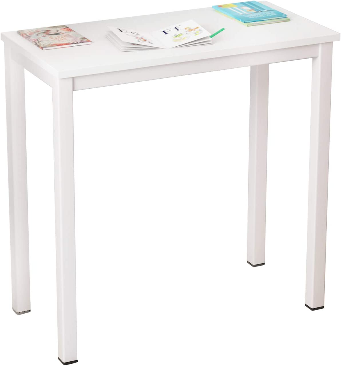 DlandHome 31.5 Inches Small Computer Desk for Home Office Folding Table Writing Table for Small Spaces Study Table Laptop Desk Black (White)