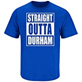 Nalie Sports Duke Basketball Fans. Straight Outta Durham. Blue T-Shirt (Sm-5X) (Long Sleeve Large)
