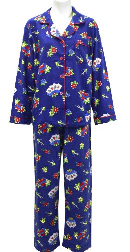 Leisureland Women's Cotton Flannel Pajama Set Love Heart Tattoo