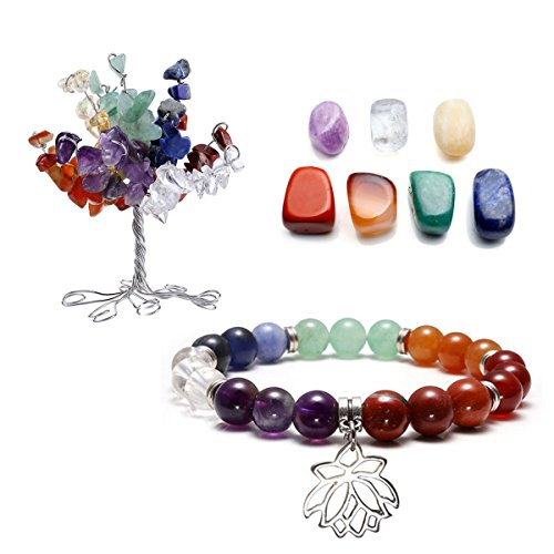 CrystalTears 7 Chakra Gems Set,Money Tree+ Irregular Chakra Stones+ Chakra Bracelet Lotus Pendant Reiki Healing Crystal Feng Shui Spiritual Decor Ornaments