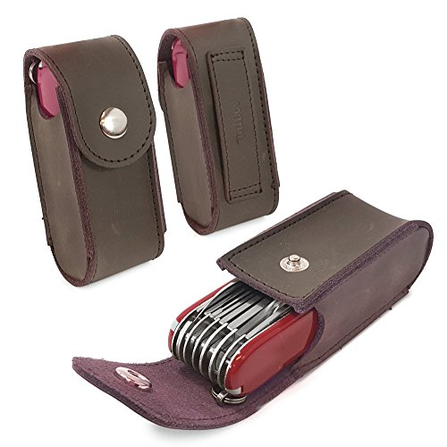 TUFF LUV Genuine Western Leather Belt Pouch/Sheath for Victorinox Swiss Army Pen Knife [(5-8 Layers) Huntsman, Swiss Champ, Hiker, Climber] with - - Knife Bicycle Army Swiss