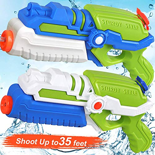 POKONBOY 2 Pack Super Water Guns Water Blaster Super Soaker Squirt Guns, Shoots Up to 35 Ft Water Pool Games Toy for Kids Adults Swimming Pools Party Outdoor Beach Water Fighting Toys -