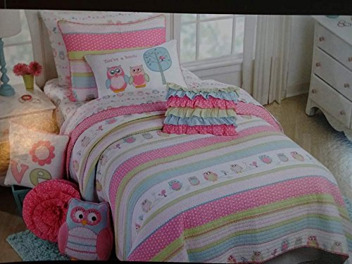 Cynthia Rowley Friendly Owl Owls Pink Bedding 4 Piece Full
