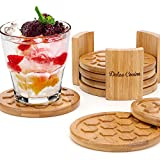 """Coasters For Drinks 6 Pack - Round Bamboo Cup Mats Set of 6 Coaster In Elegant Holder Stand - Grooved & Deep Tray Trapping Spill and Sweat To Protect Furniture, 4.3"""" Large Size, Safe to All Surfaces"""