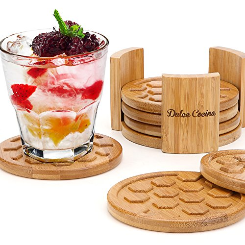 Coasters For Drinks 6 Pack - Round Bamboo Cup Mats Set of 6 Coaster In Elegant Holder Stand - Grooved & Deep Tray Trapping Spill and Sweat To Protect Furniture, 4.3