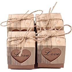 Keweis 100pcs Candy Boxes Love Heart Rustic Kraft Paper with Vintage Twine for Wedding Favor Valentine Gift