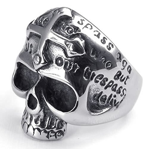 Bishilin Stainless Steel Fashion Men's Rings Gothic Cross Skull Color Silver Width 26mm Size 9 (Tin Man Nose)