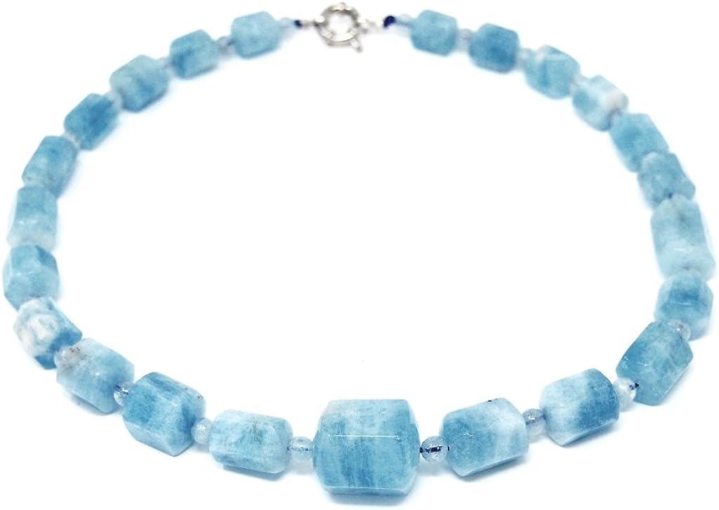Preciosa piedras preciosas collar de aguamarina en forma de sechsseitigem Prisma