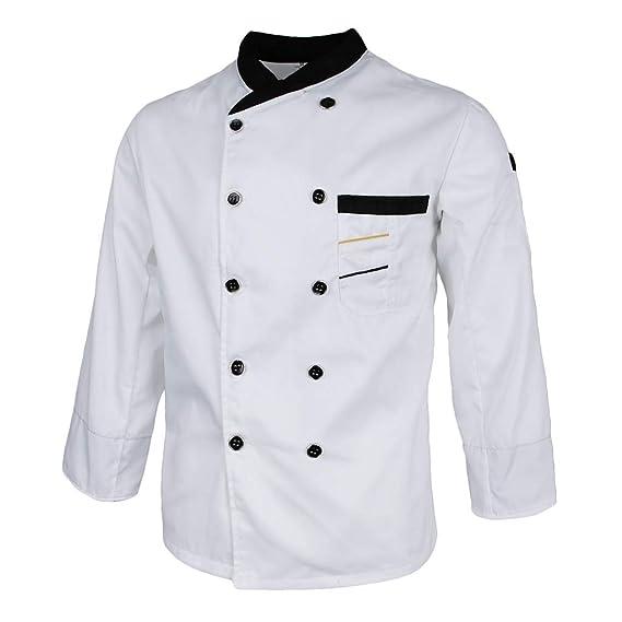 Baoblaze Chaqueta de Unisex Chef Camarero Traje Abrigo Mangas ...